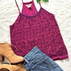 Lucky Brand tribal print and crochet tank top.
